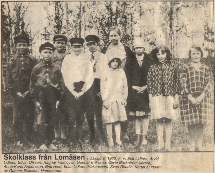 skolklass lomåsen 1930