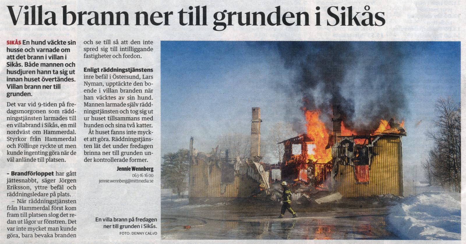 villa brann ner 26 feb 2016